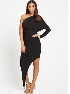 rochelle-humes-double-sided-draped-one-shoulder-dress