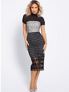 myleene-klass-chiffon-multi-lace-pencil-dress-black