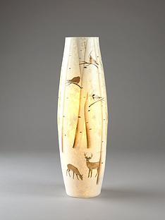 lit-glass-vase-christmas-decoration-with-reindeer-woodland-scene