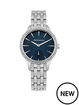 karen-millen-karen-millen-deep-blue-sunray-dial-stainless-steel-bracelet-ladies-watch