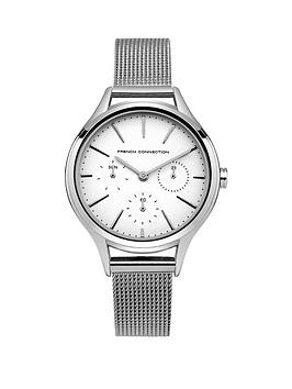 french-connection-french-connection-daisy-grand-white-multifunction-dial-stainless-steel-mesh-strap-ladies-watch