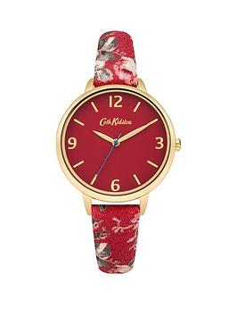 cath-kidston-cath-kidston-garden-rose-red-dial-multicolour-printed-fabric-strap-ladies-watch