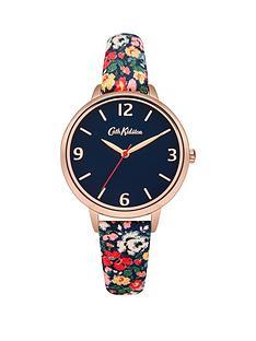 cath-kidston-cath-kidston-mews-ditsy-navy-dial-multi-colour-printed-fabric-strap-ladies-watch