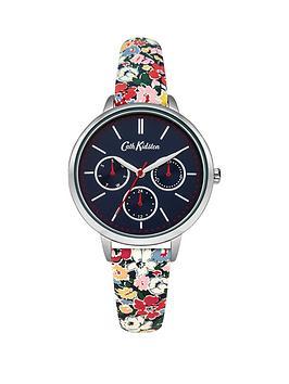 cath-kidston-cath-kidston-mews-ditsy-navy-multi-dial-multi-colour-printed-pu-strap-ladies-watch