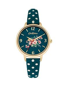 cath-kidston-cath-kidston-briar-rose-green-flowers-printed-dial-green-polka-dot-print-strap-ladies-watch