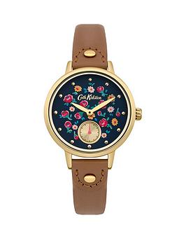 cath-kidston-little-flower-buds-navy-floral-printed-dial-tan-leather-strap-ladies-watch