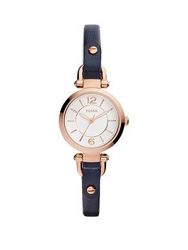 fossil-fossil-georgia-white-dial-rose-tone-case-navy-leather-strap-ladies-watch
