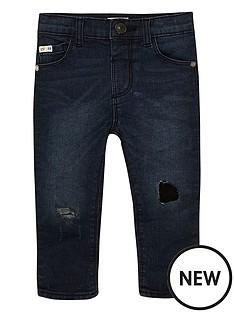 river-island-mini-mini-boys-dark-wash-ripped-skinny-jeans