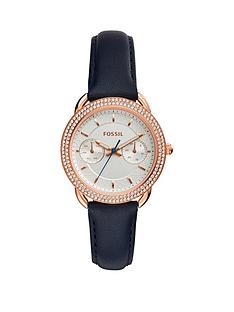 fossil-fossil-tailor-white-dial-stone-detail-bezel-navy-leather-strap-ladies-watch