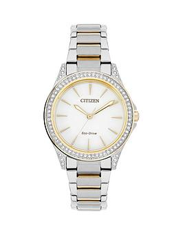 citizen-eco-drive-white-dial-swarovski-crystal-bezel-two-tone-bracelet-ladies-watch