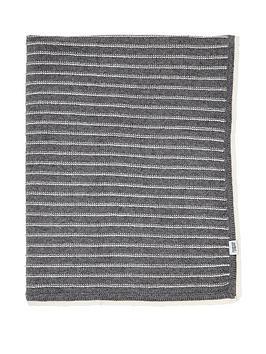 mamas-papas-knitted-blanket-grey-stripe