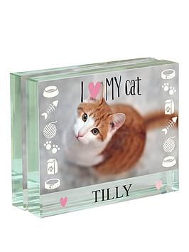personalised-i-love-my-cat-glass-photo-block