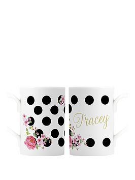 personalised-floral-polka-dot-mug