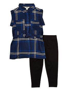 river-island-mini-girls-blue-check-shirt-and-leggings-set