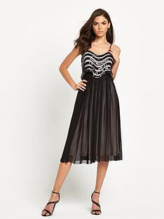 tfnc-jena-cami-pleated-skirt-midi-blacknude