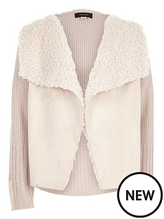 river-island-girls-cream-knit-borg-lined-cardigan