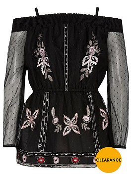 river-island-girls-black-embroidered-mesh-bardot-top