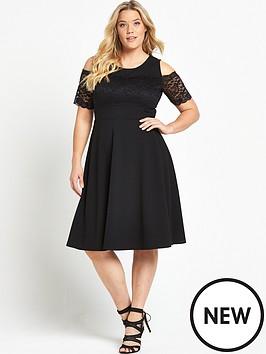 so-fabulous-lace-trim-bardot-skater-dress-black