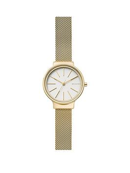 skagen-skagen-ancher-white-dial-gold-tone-mesh-bracelet-ladies-watch