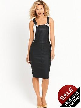 myleene-klass-coated-dungaree-dress-black