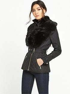 river-island-river-island-short-quilted-coat-with-faux-fur-collar