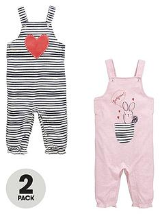 ladybird-baby-girls-stripe-and-bunny-dungarees-2-pack