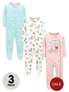 ladybird-baby-girls-stripe-and-bicycle-sleepsuitsnbsp3-pack