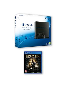 playstation-4-1tb-black-console-with-deus-ex-mankind-divided-with-optional-extra-dualshock-contoller-and-365-psn-subscription