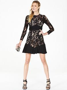 v-by-very-pleat-detail-lace-dress