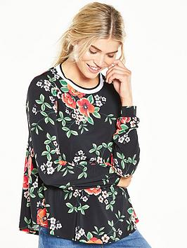 v-by-very-floral-print-ribbed-long-sleeve-top