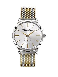 thomas-sabo-rebel-spirit-silver-tone-dial-two-tone-gold-mesh-mesh-bracelet-mens-watchnbspplus-free-diamond-bracelet