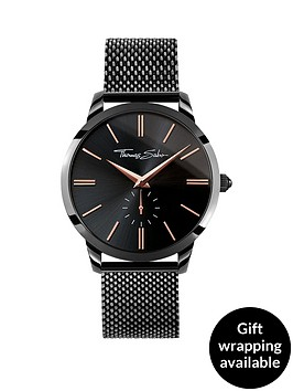 thomas-sabo-black-dial-rose-detail-black-mesh-bracelet-mens-watch