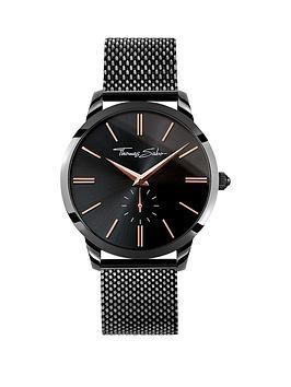 thomas-sabo-black-dial-rose-detail-black-mesh-bracelet-mens-watchnbspplus-free-diamond-bracelet