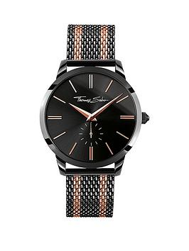 thomas-sabo-rebel-spirit-black-dial-rose-accent-rose-tone-striped-mesh-bracelet-mens-watchnbspplus-free-diamond-bracelet