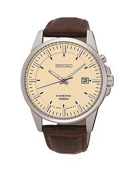 seiko-seiko-biege-dial-silver-tone-case-brown-leather-strap-mens-watch