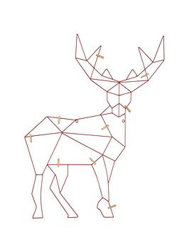 gisela-graham-red-wire-origami-deer-christmas-card-holder-with-pegs