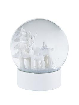 gisela-graham-white-reindeer-snow-dome-christmas-decoration