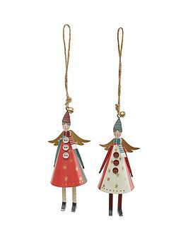 gisela-graham-set-of-2-forest-folk-tin-cone-angel-christmas-tree-decorations