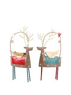 gisela-graham-set-of-2-tin-reindeer-christmas-tree-decorations