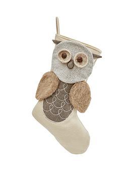 gisela-graham-plush-owl-stocking