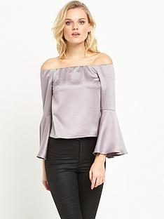 miss-selfridge-satin-flute-sleeve-bardot-top-grey