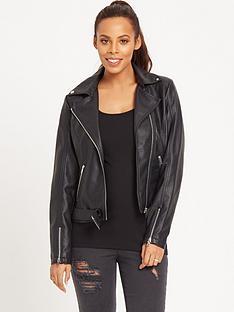 rochelle-humes-pu-belted-biker-jacket-black