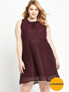 ax-paris-curve-ladder-fabric-skater-dress-wine