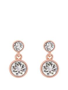 karen-millen-karen-millen-rose-gold-crystal-dot-drop-earring-made-with-swarovski-elements