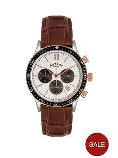 rotary-white-dial-chronograph-brown-leather-strap-mens-watch