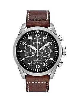 citizen-citizen-eco-drive-avion-black-chronograph-dial-brown-leather-strap-mens-watch