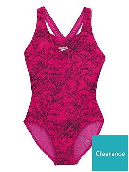 394278f2e6f44 Speedo Girls Boom Allover Splashback Swimsuit - Pink/Black ...
