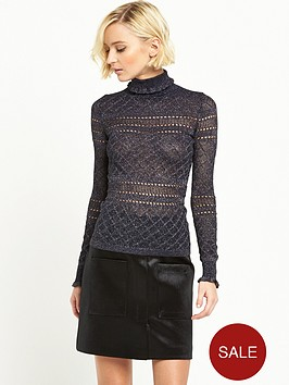 river-island-pointelle-knit-ruffle-trim-jumper-navy