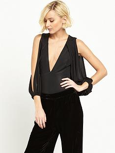 river-island-metallic-draped-cold-shoulder-bodysuit-black
