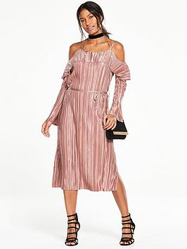 v-by-very-plisse-cold-shoulder-bodycon